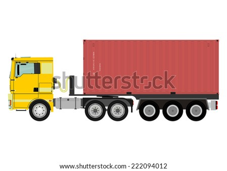 Truck carrying sea container. Vector without gradients on one layer.