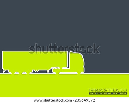 Truck company advertising background design with truck silhouette - stock vector