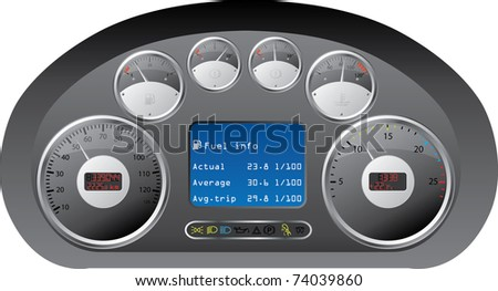 Truck dashboard design with gauges - stock vector