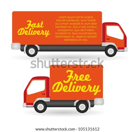truck fast and free delivery, vector illustration - stock vector