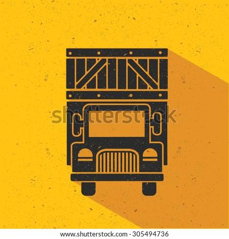 Truck flat design,yellow version,vector - stock vector