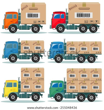 Truck for delivery picked products from the factory to the warehouse Stock vector illustration set. Isolated on white background - stock vector