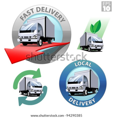 Truck for local delivery, fast delivery, recycle and eco friendly transportation - stock vector
