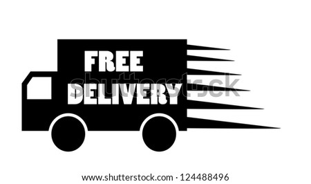 Truck free delivery icon vector isolated - stock vector