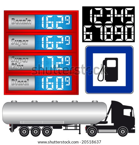 Truck - gas station, petrol station - sign - stock vector