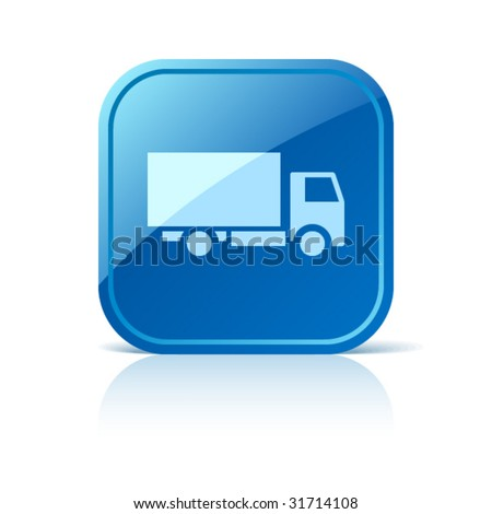 Truck icon on blue glossy square vector web button