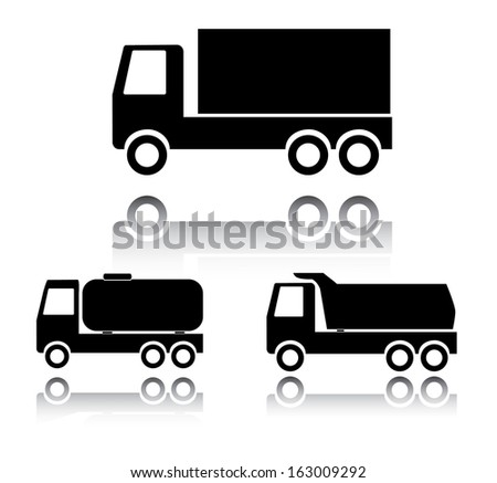 Truck icon set. Abstract easy to edit icon set with three trucks. Eps10 logistics icon collection.  - stock vector
