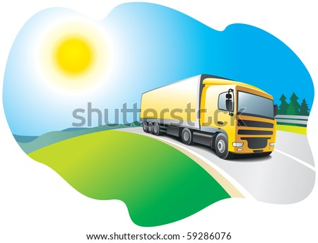 Truck  on the road - transport and logistics.  Vector illustration - stock vector