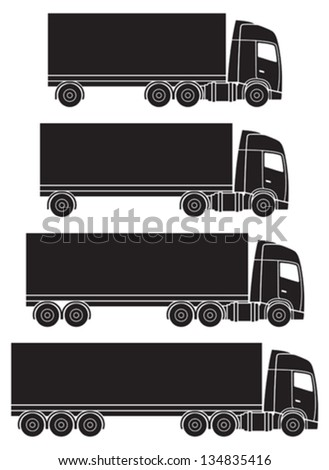 Truck or lorry transport vector silhouettes - stock vector