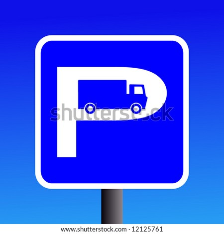 truck parking sign with blue sky illustration