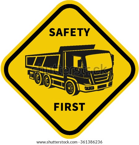 Truck safety.Driver construction worker checking truck. Repair of cars, trucks, vehicles. Signs warning. - stock vector