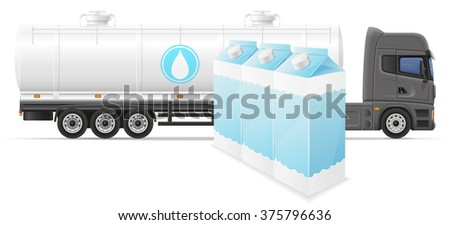 truck semi trailer delivery and transportation of milk concept vector illustration isolated on white background - stock vector