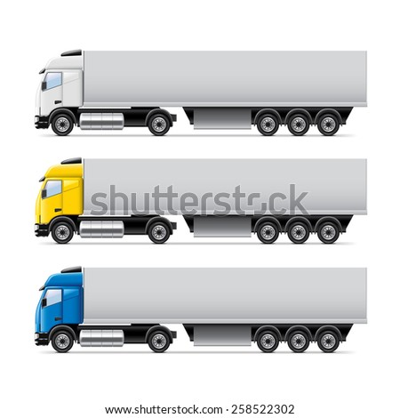 Truck set isolated on white photo-realistic vector illustration - stock vector