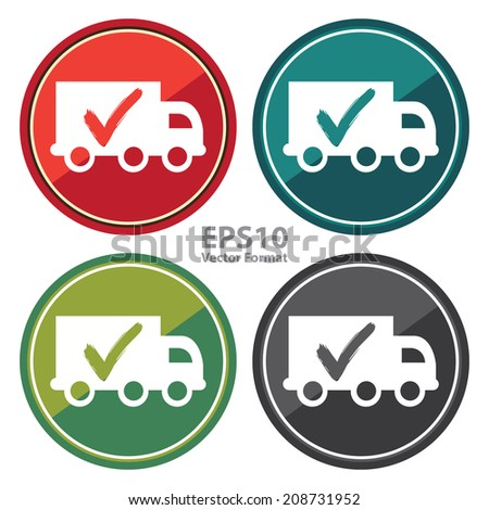 Truck, Shipping, Logistic System Sign on Circle Icon, Button, Label Isolated on White, Vector Format - stock vector