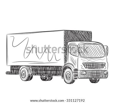 Truck sketch. Hand drawn illustration. - stock vector