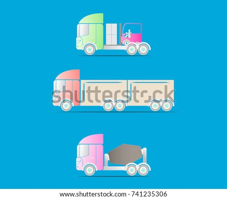 Truck three colors on blue color background for concept car, truck, transportation, logistics.