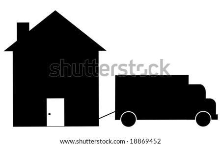 truck towing house away - foreclosure or moving - stock vector