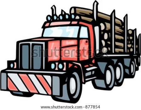 Truck transporting lumbers. Check my portfolio for many more images of this series. - stock vector