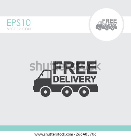 Truck vector icon. Free delivery icon. - stock vector