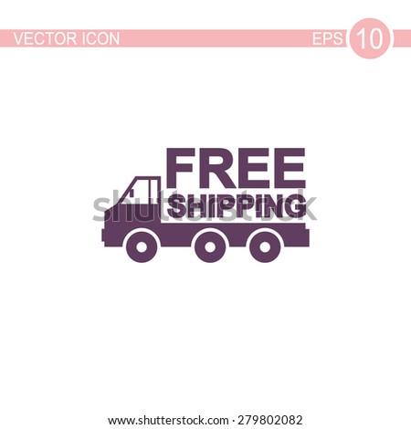 Truck vector icon. Free shipping icon. - stock vector