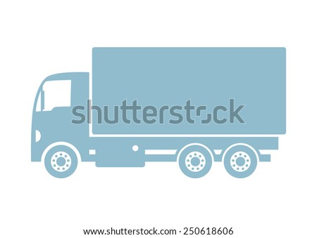 Truck vector icon on white background
