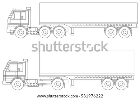 Truck vector line illustration, different configurations