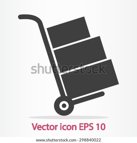 Truck with boxes icon.  Hand truck sign symbol. - stock vector