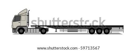 Truck with empty trailer - stock vector