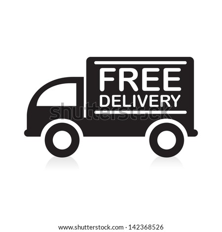 Truck with �Free Delivery� sign. - stock vector