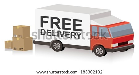 truck with free delivery text on trailer and cardboard boxes - stock vector
