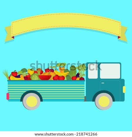 Truck with harvest. Truck carrying vegetables and fruits. Blank ribbon for insert text. - stock vector