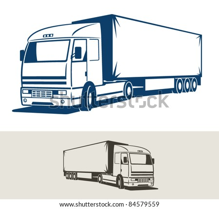 Truck with semitrailer. Vector illustration - stock vector