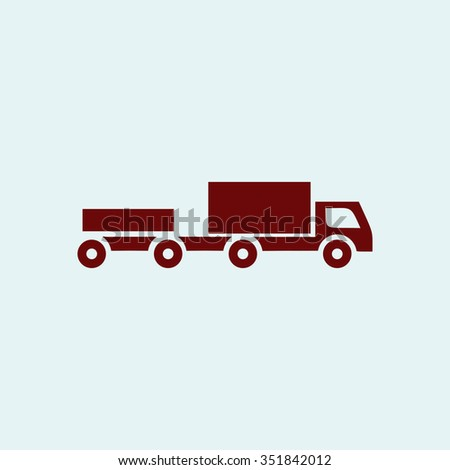 Truck with trailer. Red vector icon. Simple modern illustration pictogram. Collection concept symbol for infographic project and logo - stock vector