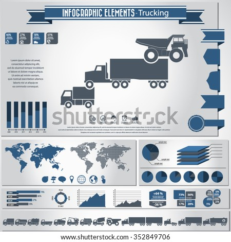 Trucking - infographics elements and icons set combined. - stock vector