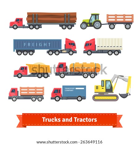 Trucks and tractors set. Flat style vector icons. - stock vector