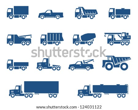 Trucks icons set. Vector silhouettes of vehicles - stock vector