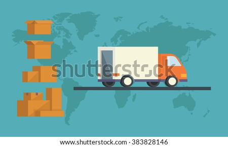 trucks. Shipping cargo delivery, export or import, transportation and logistic, flat vector illustration set of box  - stock vector