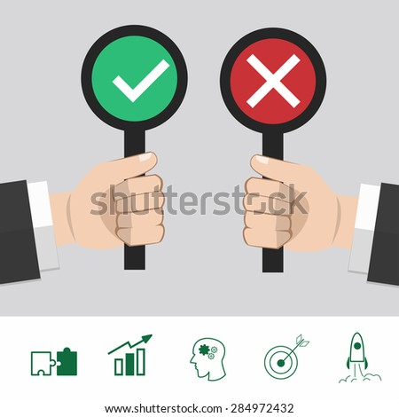 True and False hand. flat design. vector illustration. positive and negative. - stock vector