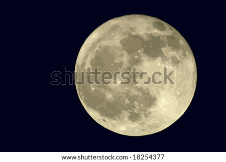 True full moon against a black sky. VECTOR. If you need a photo equivalent, see my #1210504. - stock vector
