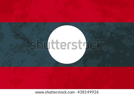 True proportions Laos flag with grunge texture - stock vector