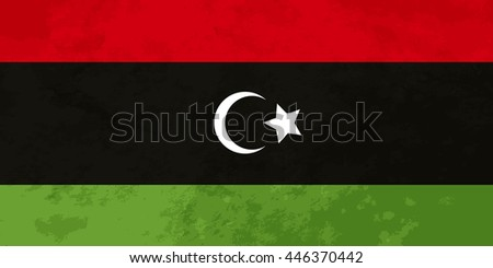 True proportions Libya flag with grunge texture - stock vector