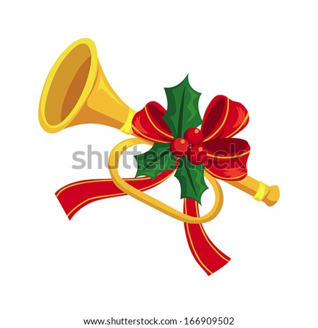 Trumpet decorated with holly - stock vector