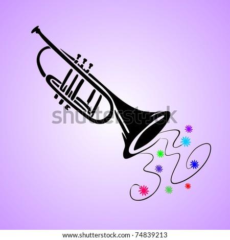 trumpet vector - stock vector