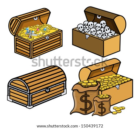 Trunk and Boxes of Treasure and Skulls - Cartoon Vector Illustration - stock vector