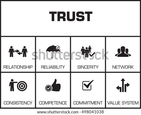 Trust Chart Keywords Icons On Yellow Stock Vector Royalty Free
