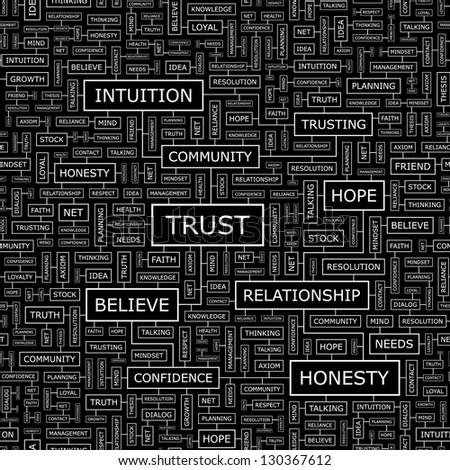 TRUST. Word collage. Seamless illustration. - stock vector