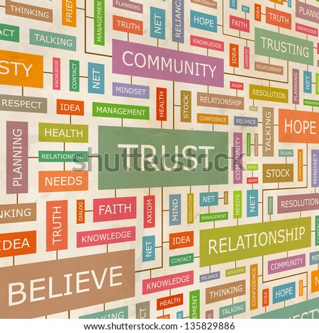 TRUST. Word collage. Vector illustration.