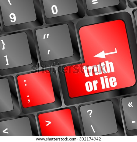 truth or lie button on computer keyboard key vector illustration - stock vector