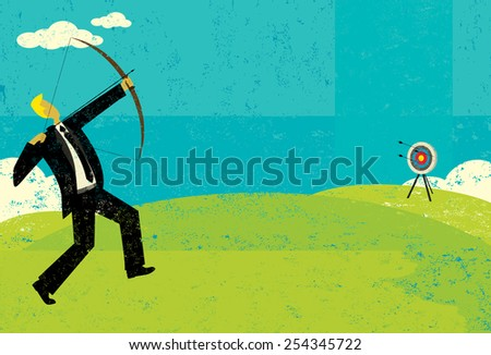 Trying to hit the bull's eye A businessman trying to shoot the arrow into the bull's eye to achieve his goal. The man and target are on a separate labeled layer from the background.  - stock vector