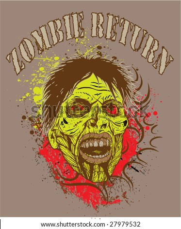 Tshirt design with zombie - stock vector
